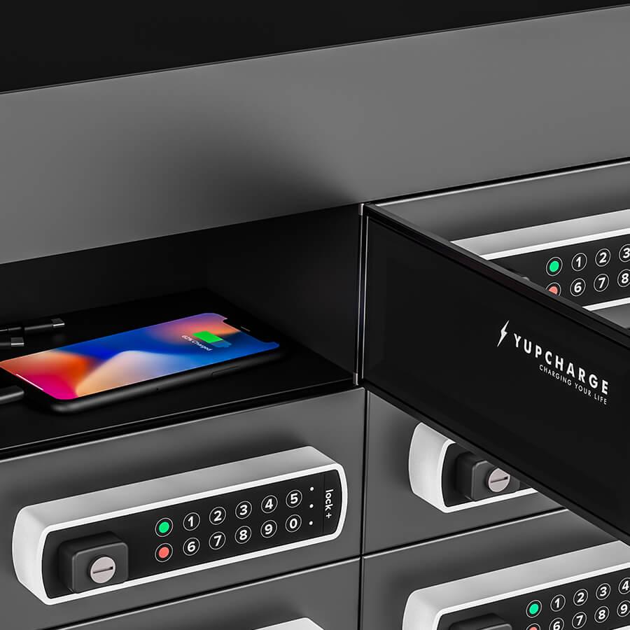 """Yupcharge cargadores para móviles Taquilla de Carga Twist DS 50"""" detalle taquilla con keypad electrónico y cables de carga 3n1 Strong Kevlar"""