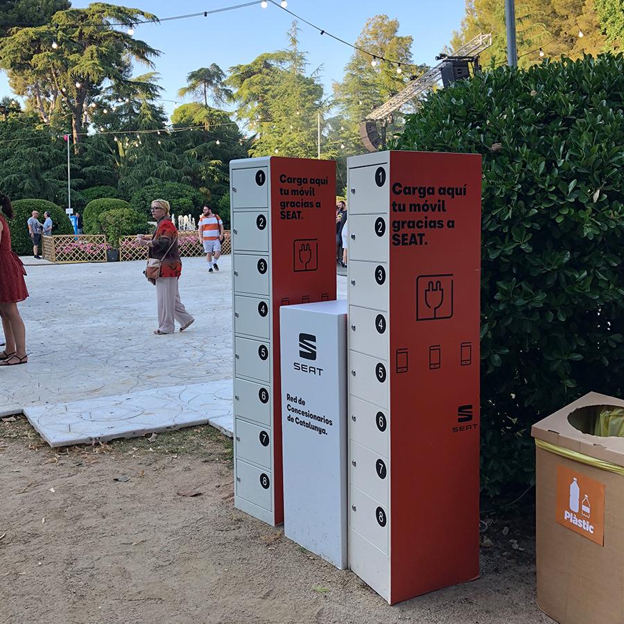 Cargadores para móviles en Festivales Jardinets Pedralbes Seat PopRock